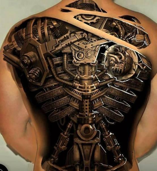Biomechanic Tattoos Herz Rucken Rippen 3d Licht Schatten Die