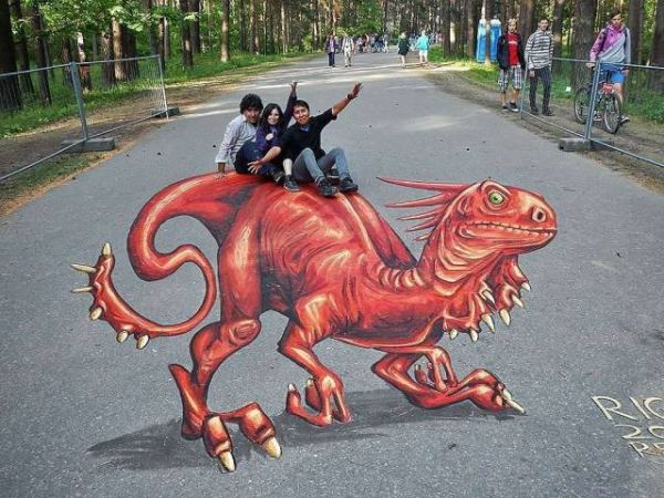Street painting, 3D, optical illusion, dinosaurs