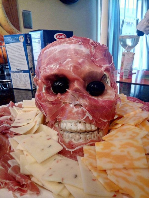 Skull, bacon, cheese, plate, horror