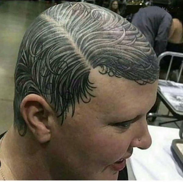 Hairstyle, tattoo, side parting, permanent hairstyle