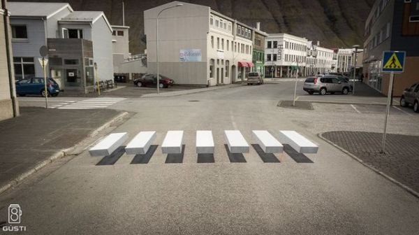 Zebra crossing, 3D, optical illusion