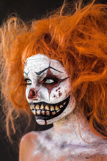 Make-up, teeth, Halloween, horror, clown, wig