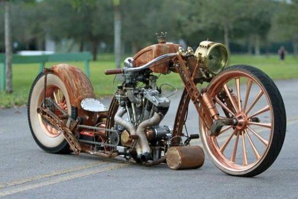 Motorcycle, Harley, rusty, crown, retro, steam punk