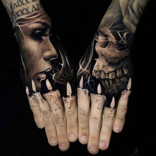 Illusion, fingers, candles, face, skull