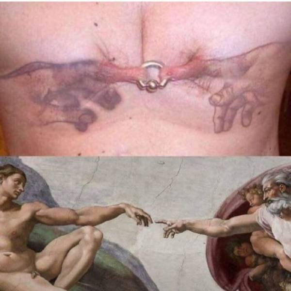 Piercing, nipples, fingers, artwork, Michelangelo