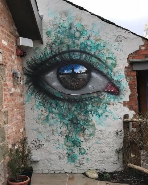 Die besten 100 Bilder in der Kategorie graffiti: Auge, Grafitti, Escher, realistisch, Hauswand, 3D