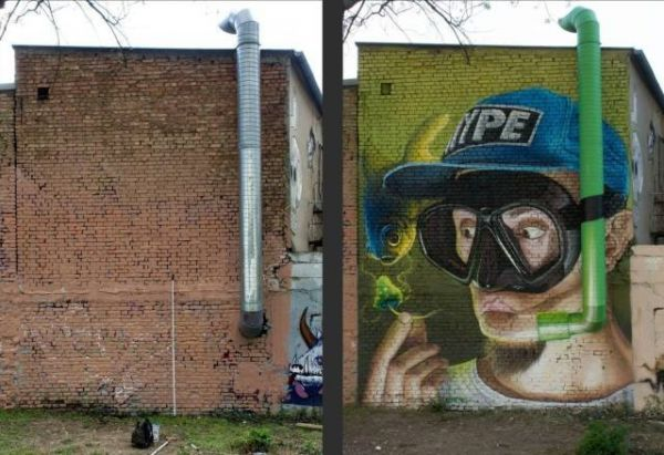 Die besten 100 Bilder in der Kategorie graffiti: Schnorchel, Abluftrohr, Grafitti