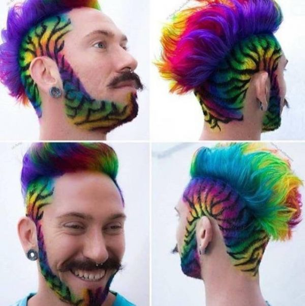 Hairstyle, colorful, rainbow, tiger, beard