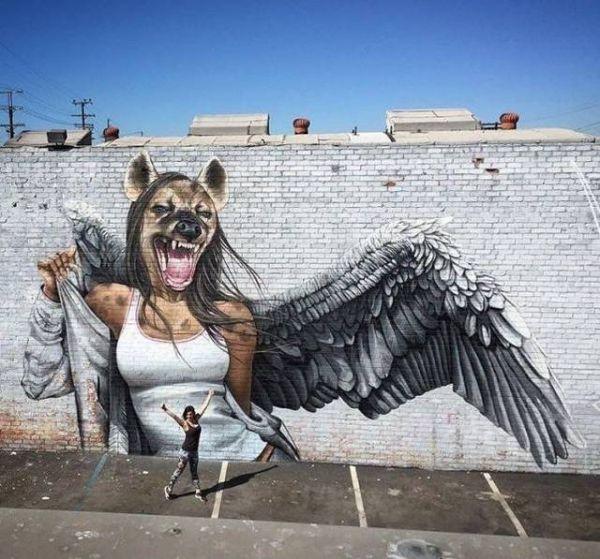Die besten 100 Bilder in der Kategorie graffiti: Hyäne, Engel, Flügel, Frau, Wand, Graffiti