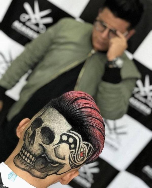 Hairstyle, skull, design, hairdresser, art, back of the head