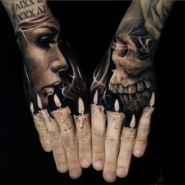 Candles, death, skull, woman, realistic