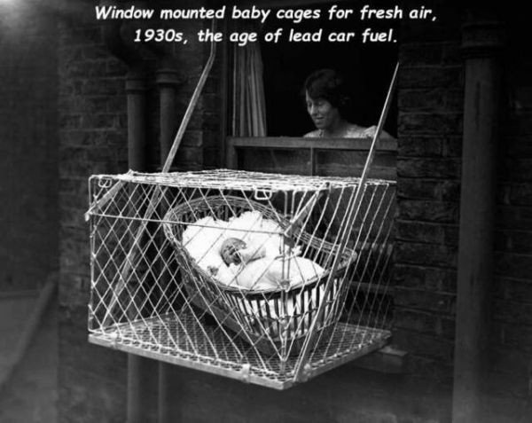 1930, window, cage, baby, children, fresh air