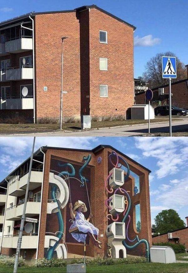Die besten 100 Bilder in der Kategorie graffiti: Surrealismus, Kunst, Hauswand, optische Täuschung, Schaukel, Kind