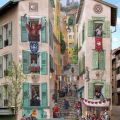 Die besten Bilder in der Kategorie graffiti: Pedestrian, Graffiti, Optical Illusion, House Wall
