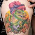 Die besten Bilder in der Kategorie Vote: Funny tattoo, lizard, rockabilly, dinosaur, sixties, wife