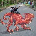 Die besten Bilder in der Kategorie Vote: Street painting, 3D, optical illusion, dinosaurs