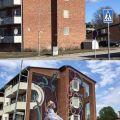 Die besten Bilder in der Kategorie graffiti: Surrealism, art, house wall, optical illusion, swing, child