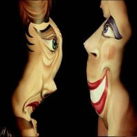 Cool Painting - Optical Face Illusion-Bodypainting