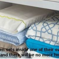 Store bedlinen sets inside one of theeir own pillowcases
