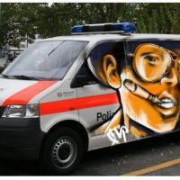 Fear and Loathing Graffiti on Police Bus