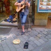 Streetmusician with cardpayment