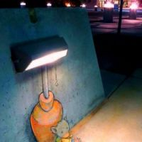 comic style, graffiti, reading, lamp