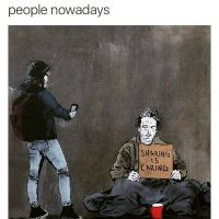 Facebook, graffiti, poverty, donation, sharing, smartphone, generations