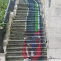 Graffiti, slide, stairs