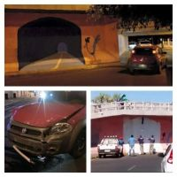 Graffiti, Optical illusion, Roadrunner, Tunnel, car accident