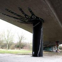 Bridge, pillar, hand, grafitti, strong