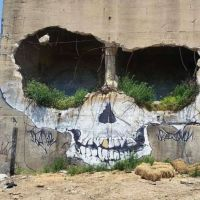 Skull, ruin, house, grafitti, hole, holes