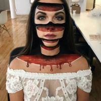 Facepainting, slices, blood, horror, optical illusion, 3D
